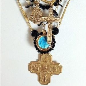 Andrea Barnett Onyx, 5-Strand Necklace w/ 3 Medals